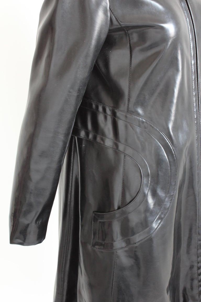 Pierre Cardin Space Age Coat Black Vinyl Circle Pocket Jacket 1960s S/M  For Sale 3