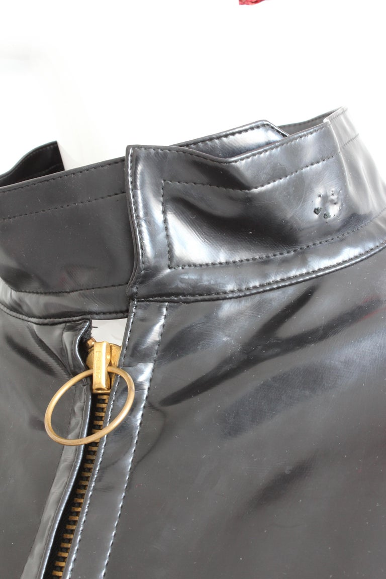 Pierre Cardin Space Age Coat Black Vinyl Circle Pocket Jacket 1960s S/M  For Sale 4
