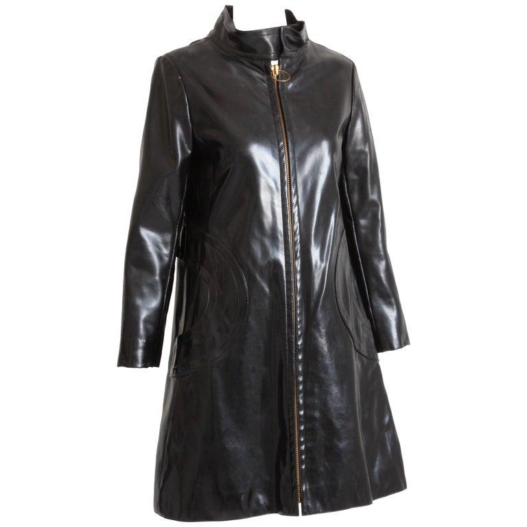 Pierre Cardin Space Age Coat Black Vinyl Circle Pocket Jacket 1960s S/M  For Sale