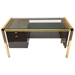 Pierre Cardin Style Brass and Lacquer Desk with Glass Top