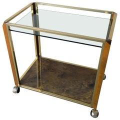Pierre Cardin Style Brass, Glass & Lacquered Burl Veneer Bar Cart / Serving Cart