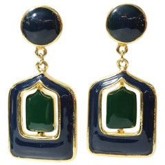 Pierre Cardin Vintage 1970's Enamel Clip-On Reversible Earrings