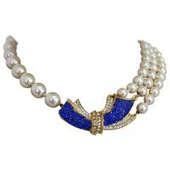 Pierre Cardin White Blue Pearl Rhinestones Choker Necklace 1980s