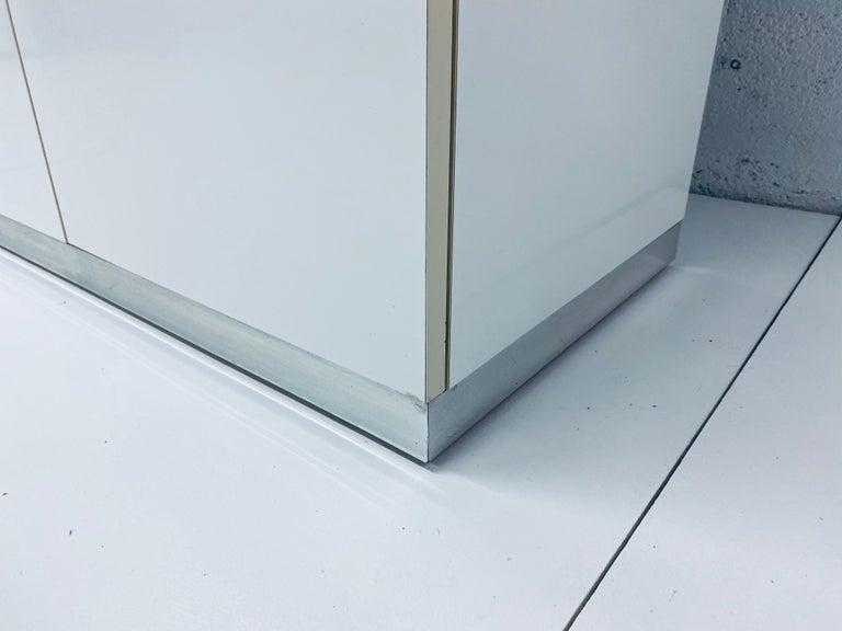 Pierre Cardin White Veneer and Chrome Highboy Dresser for Dillingham For Sale 5