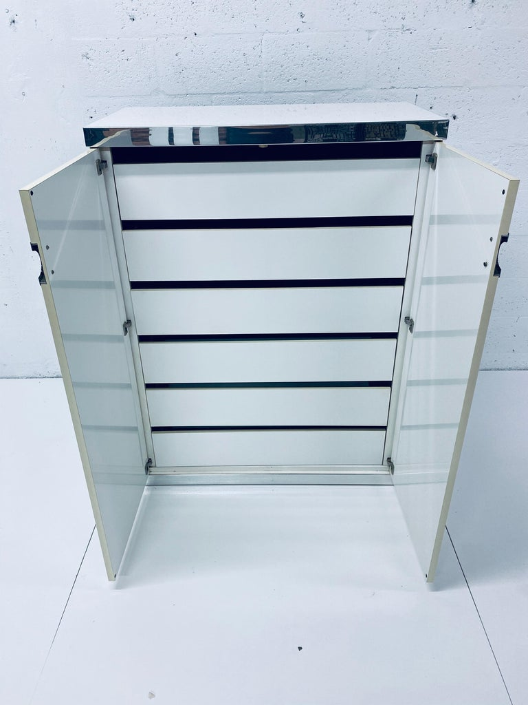 Pierre Cardin White Veneer and Chrome Highboy Dresser for Dillingham For Sale 7