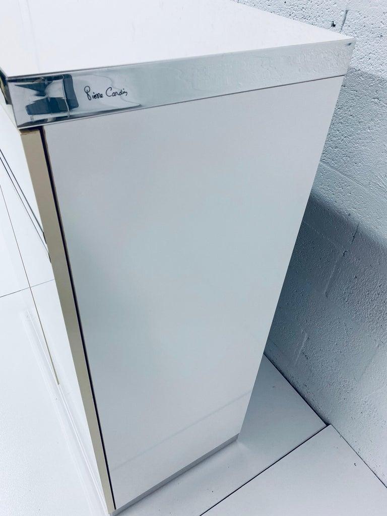 Pierre Cardin White Veneer and Chrome Highboy Dresser for Dillingham For Sale 9