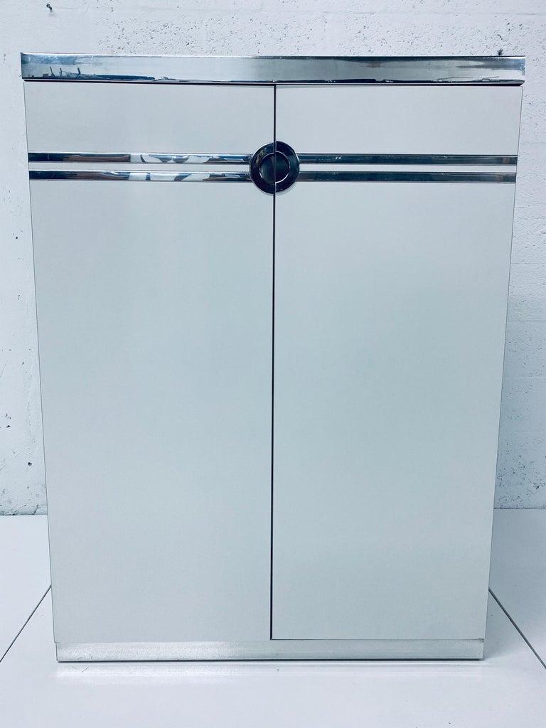 Pierre Cardin White Veneer and Chrome Highboy Dresser for Dillingham For Sale 10