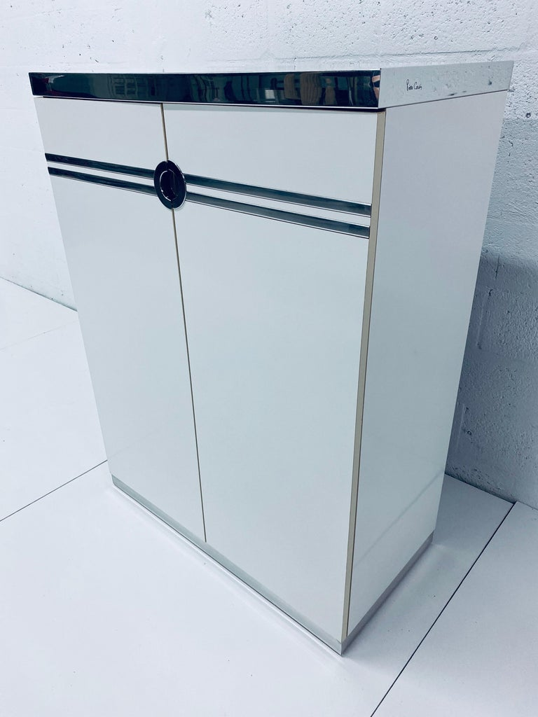 Mid-Century Modern Pierre Cardin White Veneer and Chrome Highboy Dresser for Dillingham For Sale