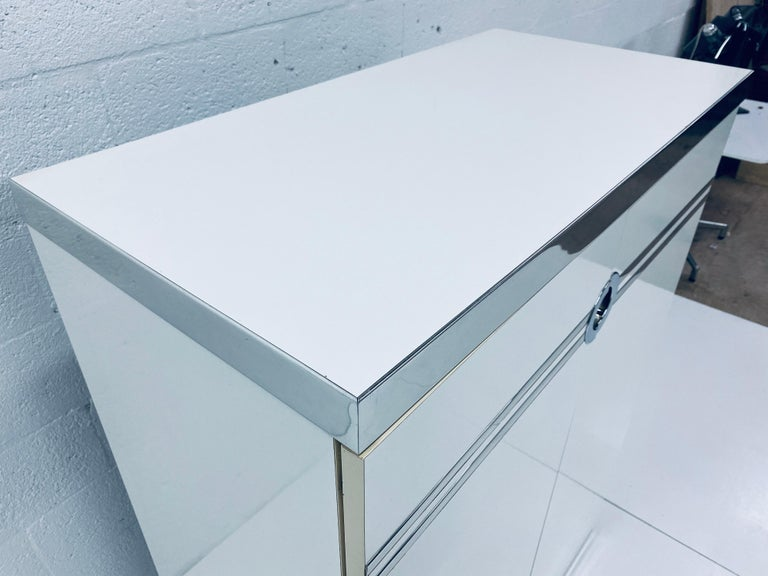 Pierre Cardin White Veneer and Chrome Highboy Dresser for Dillingham For Sale 2