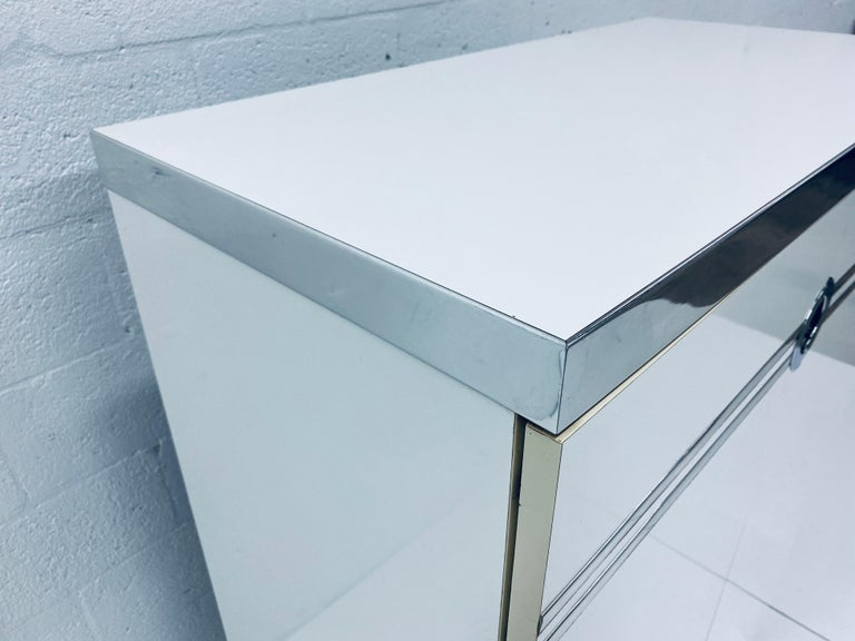 Pierre Cardin White Veneer and Chrome Highboy Dresser for Dillingham For Sale 3