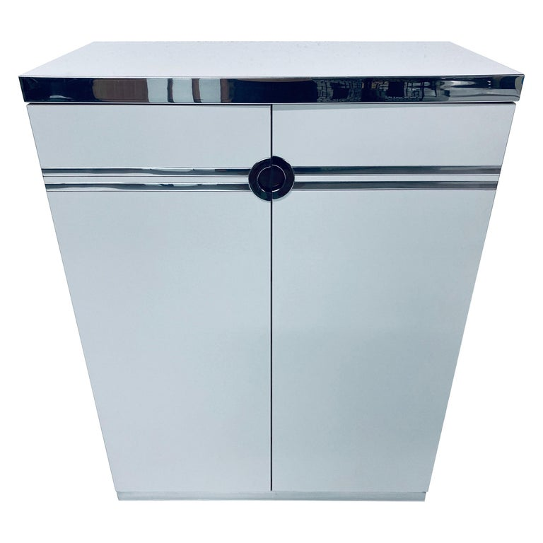 Pierre Cardin White Veneer and Chrome Highboy Dresser for Dillingham For Sale