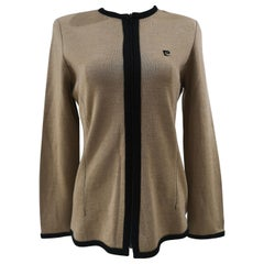 Pierre Carding beige black wool jacket / cardigan