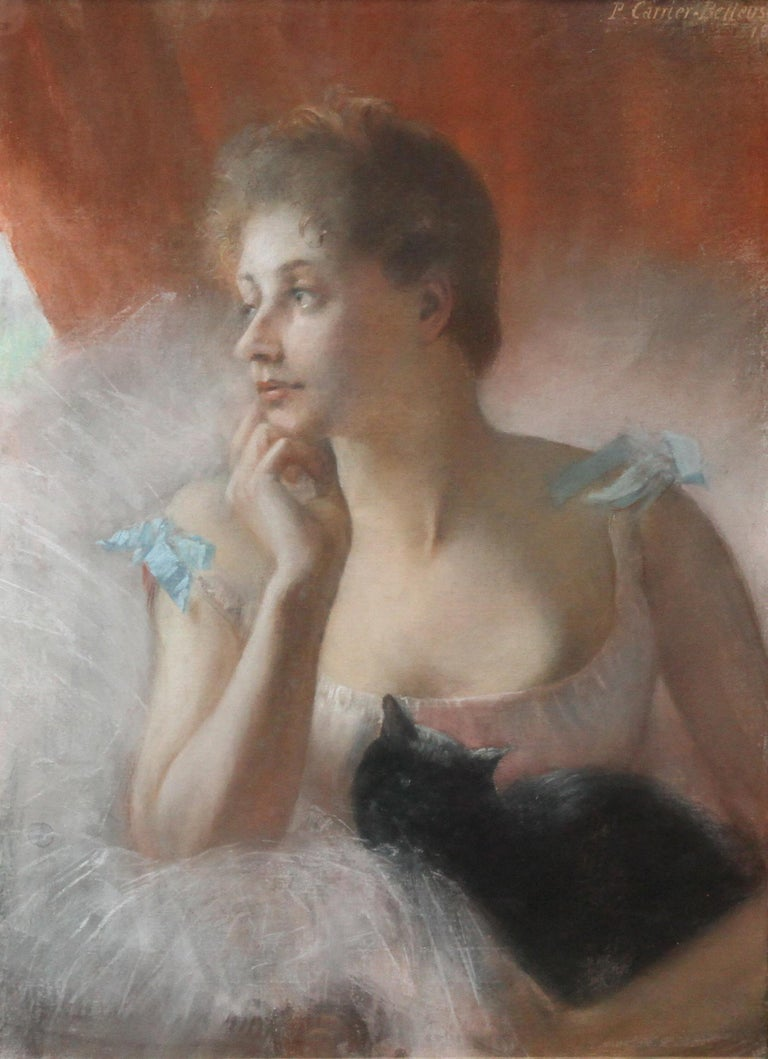 Ballet Dancer with Black Cat - French 19thC Impressionist portrait oil painting - Painting by Pierre Carrier-Belleuse