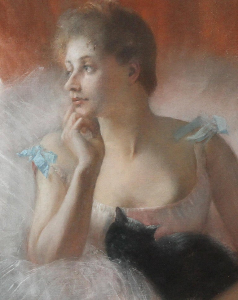 A  large and stunning French Impressionist oil pastel on paper laid on canvas  by noted French artist Pierre Carriere Belleuse. It is a beautiful portrait of a ballet dancer and a black cat. The work dates to 1891 and is housed in its original frame