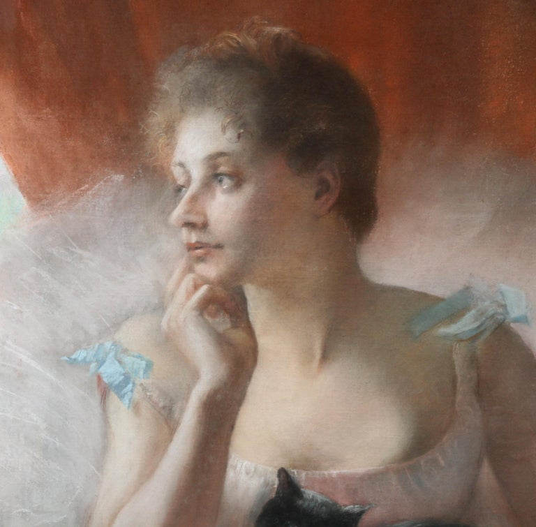 Ballet Dancer with Black Cat - French 19thC Impressionist portrait oil painting 1