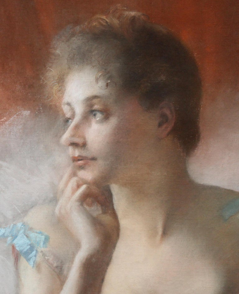 Ballet Dancer with Black Cat - French 19thC Impressionist portrait oil painting 2