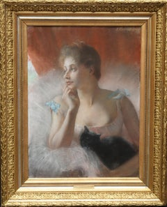 Ballet Dancer with Black Cat - French 19thC Impressionist portrait oil painting