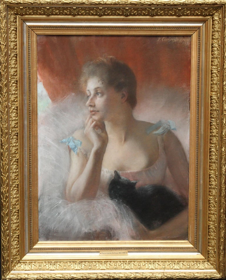 Pierre Carrier-Belleuse Animal Painting - Ballet Dancer with Black Cat - French 19thC Impressionist portrait oil painting