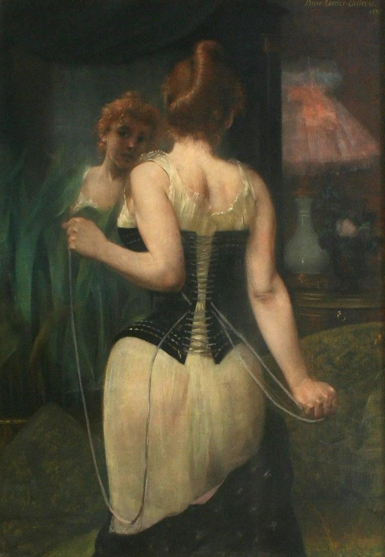 Jeune Femme Ajustant son Corset by PIERRE CARRIER-BELLEUSE - 19th century art - Painting by Pierre Carrier-Belleuse