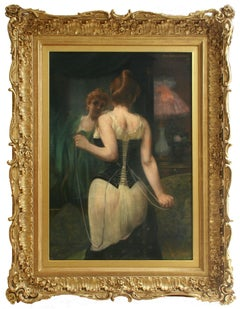 Jeune Femme Ajustant son Corset by PIERRE CARRIER-BELLEUSE - 19th century art