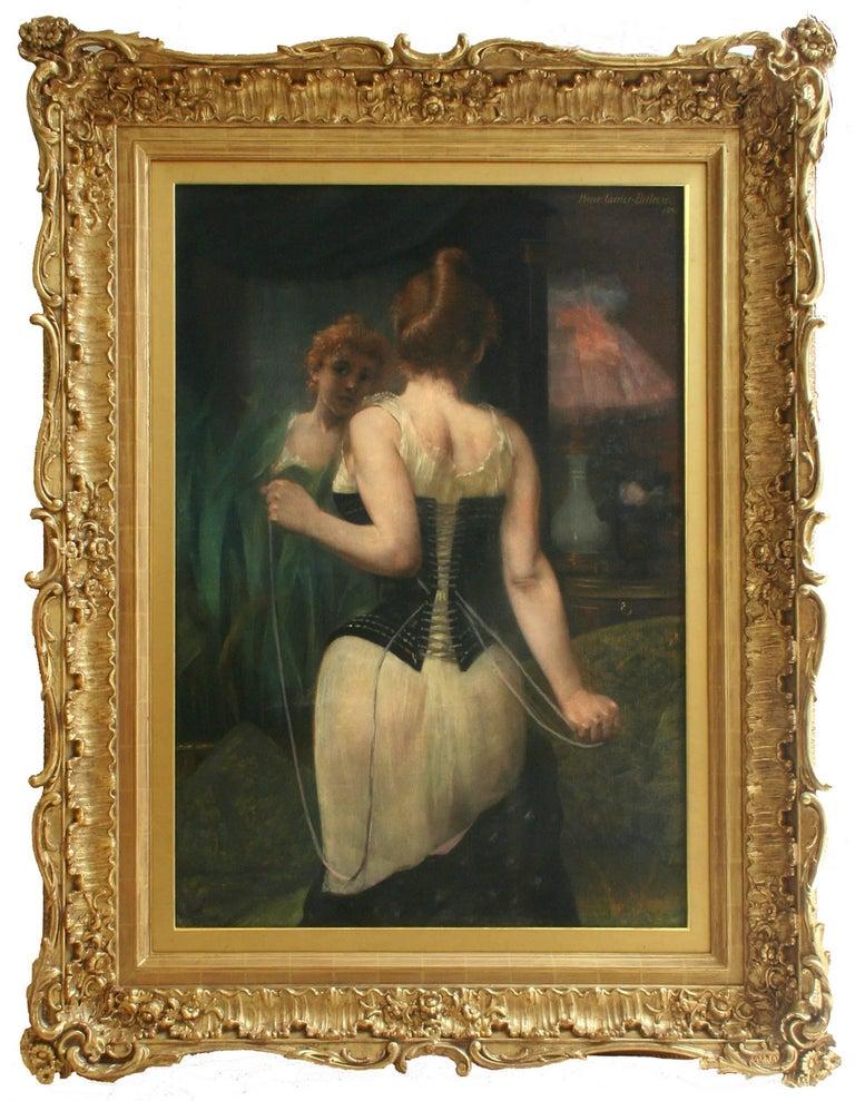 Pierre Carrier-Belleuse Figurative Painting - Jeune Femme Ajustant son Corset by PIERRE CARRIER-BELLEUSE - 19th century art