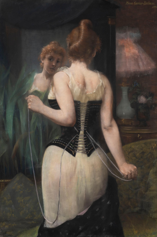 Jeune femme ajustant son corset - Pierre Carrier-Belleuse, french, large, pastel