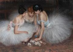 La partie de cartes - Pierre Carrier-Belleuse, 19th century, pastel, ballet, big