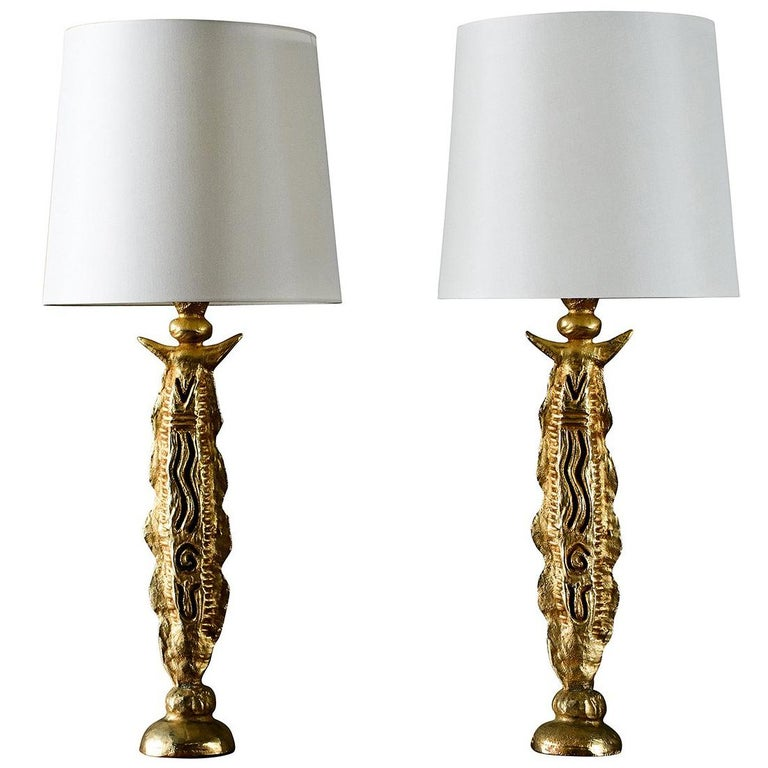Pierre Casenove gilt table lamps, 1980–89, offered by JF Chen