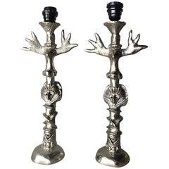 Pierre Casenove, Fondica Brutalist Bronze TOTEM Lamps, France