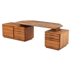 Pierre Chapo B40 Adjustable Solid Elm Desk, France, circa 1970