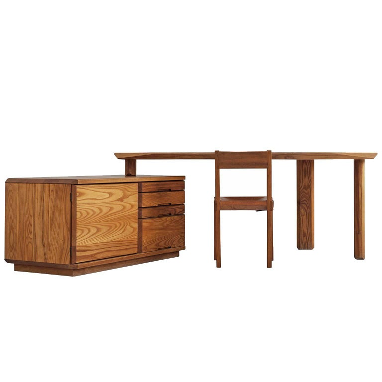 Pierre Chapo Desk in Solid Elm, Model B40