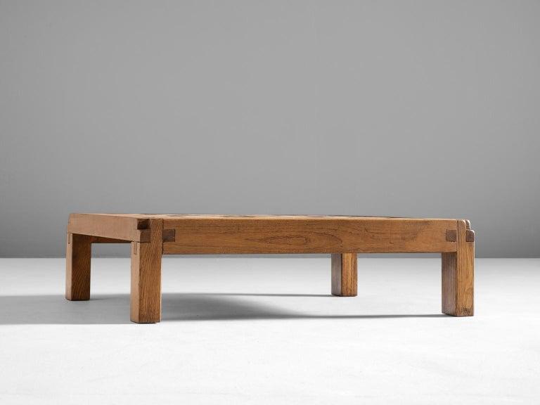 Mid-Century Modern Pierre Chapo Coffee Table in Elmwood and Ceramic
