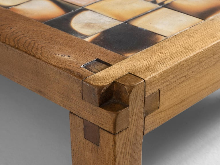 Glazed Pierre Chapo Coffee Table in Elmwood and Ceramic