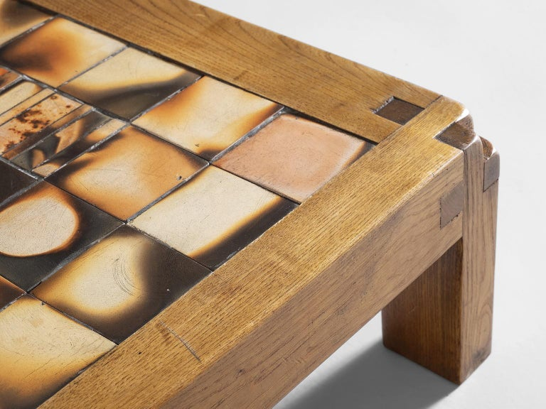 Pierre Chapo Coffee Table in Elmwood and Ceramic In Good Condition In Waalwijk, NL