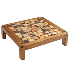 Pierre Chapo Coffee Table in Elmwood and Ceramic