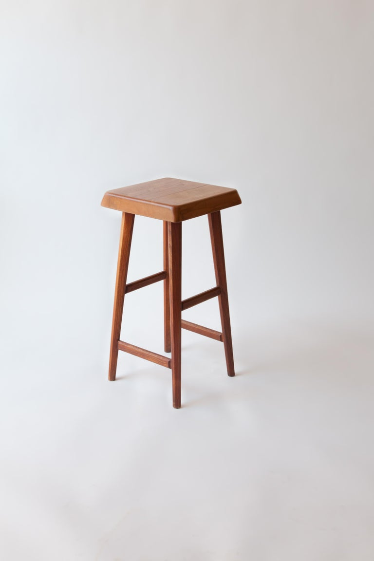 Stool by Pierre Chapo in solid elm, France, 1960s. 