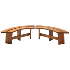 Pierre Chapo Curved Bench in French Elm