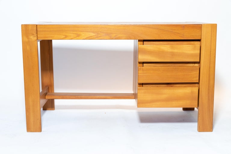 Wood desk designed by Pierre Chapo, France, circa 1970s.