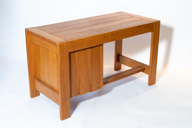 Late 20th Century Pierre Chapo Wood Desk, circa 1970s For Sale