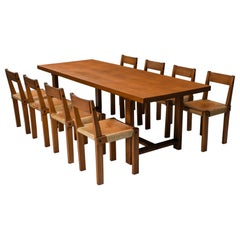 Pierre Chapo Dining Set with T01D Table and S24 Chairs in Solid Elm