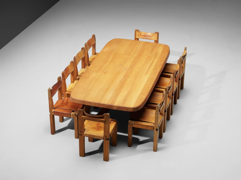 Pierre Chapo Dining Table Aban T35D in Solid Elm For Sale 4