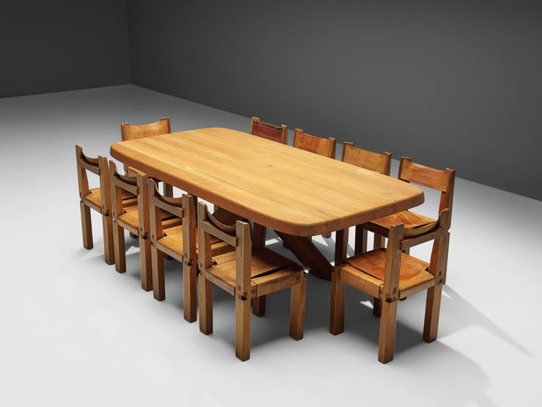 Pierre Chapo Dining Table Aban T35D in Solid Elm For Sale 6