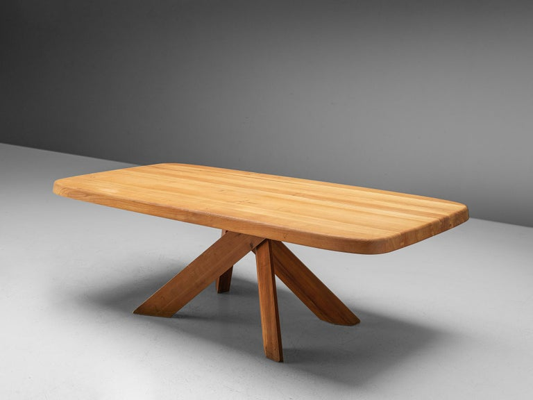 French Pierre Chapo Dining Table Aban T35D in Solid Elm For Sale