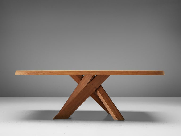Pierre Chapo Dining Table Aban T35D in Solid Elm In Good Condition For Sale In Waalwijk, NL