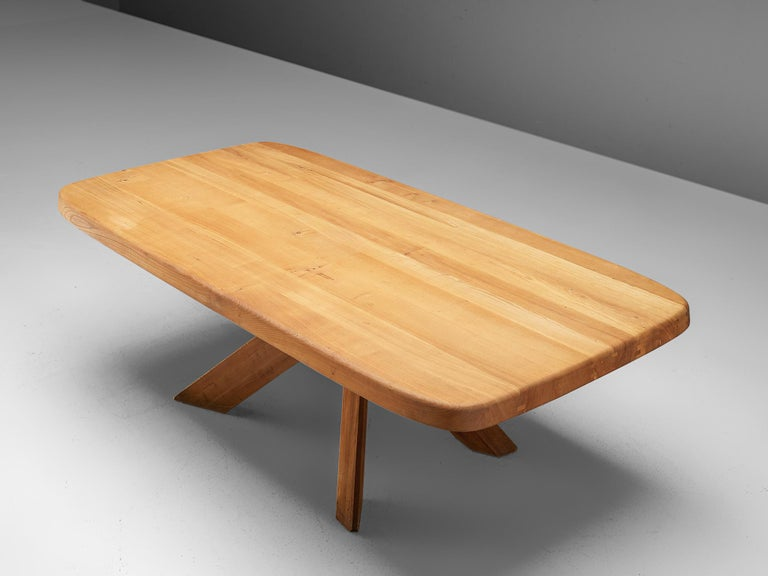 Pierre Chapo Dining Table Aban T35D in Solid Elm For Sale 1