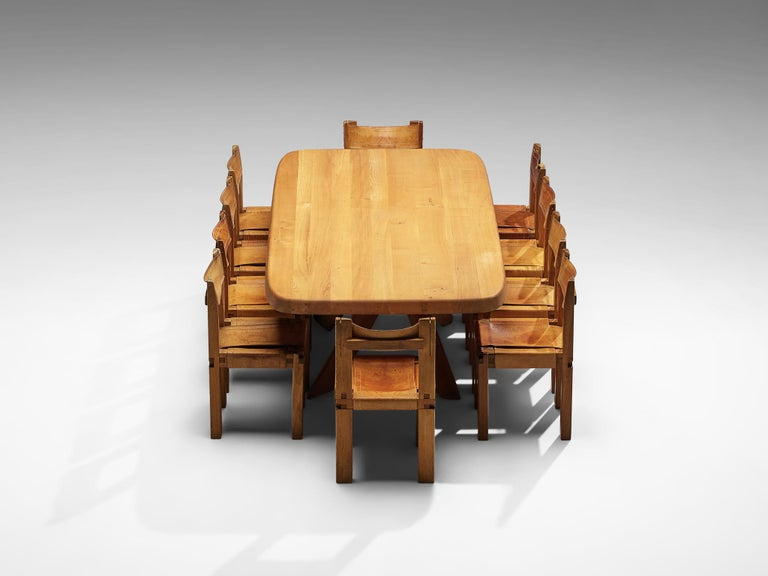 Late 20th Century Pierre Chapo Dining Table Aban T35D in Solid Elm For Sale