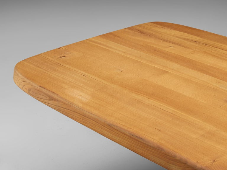 Mid-Century Modern Pierre Chapo Dining Table Aban T35D in Solid Elm For Sale