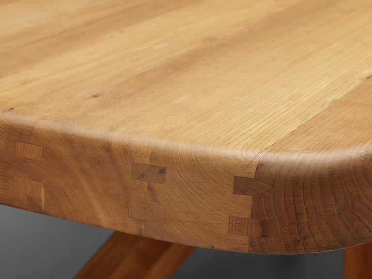 Pierre Chapo Dining Table Aban T35D in Solid Elm For Sale 5