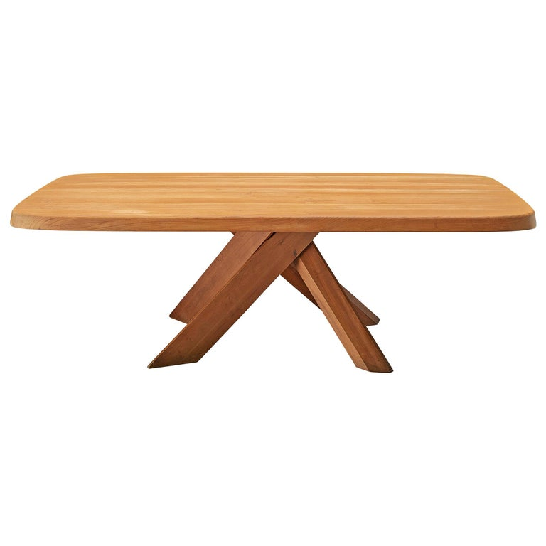 Pierre Chapo Dining Table Aban T35D in Solid Elm For Sale