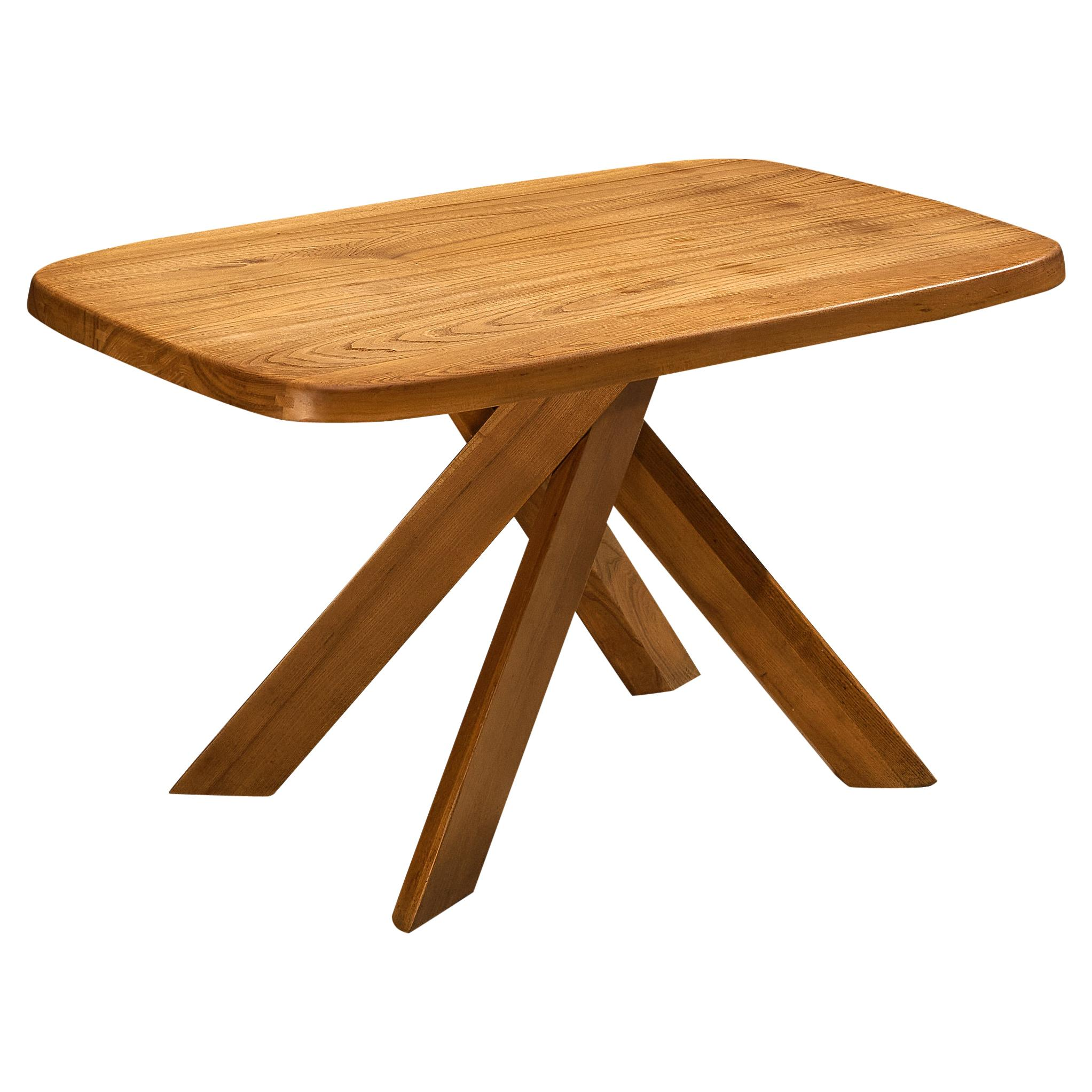 Pierre Chapo Dining Table Model 'Aban T35B' in Solid Elm